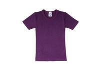 Organic Wool/ Silk Childrens Short Sleeve Shirt Color:  Plum