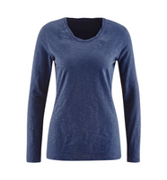Women's Organic Cotton Long Sleeved Shirt Color: Washed Blue
