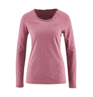 Women's Organic Cotton Long Sleeved Shirt Color: Blueberry Creme