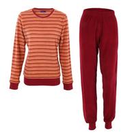 Women's Terry Pajamas Color: cherry striped