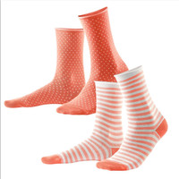Organic Cotton Women Socks Color: 844 coral/white