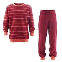 Organic Cotton Terry Shirt and Pants Set Color: cherry striped