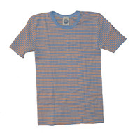 Organic Wool/ Silk/ Cotton Short Sleeved Shirt for Kids Color: Blue/ Apricot/ Natural Stripes