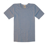 Organic Wool/ Silk/ Cotton Short Sleeved Shirt for Kids Color: Blue