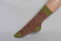 Organic Merino Wool Socks Color: 43 Light Green/Pink