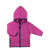 Organic Marino Wool Fleece Kids Jacket color: 24 magenta