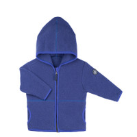 Organic Marino Wool Fleece Kids Jacket color: 304 blue print