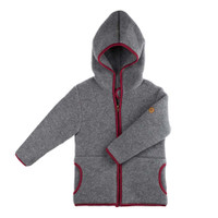 Organic Marino Wool Fleece Kids Jacket color: 96 slate grey