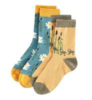 Kids Organic Cotton Sneaker Socks Color: 171 yellow/petrol