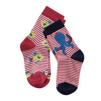 Kids Organic Cotton Sneaker Socks Color: poppy/white