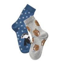 Kids Organic Cotton Sneaker Socks Color: 695 royal/grey