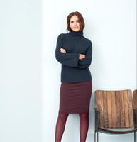 Womens Organic Wool Cotton Sweater Color: ink blue melange