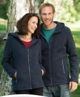 Organic Thick Wool Fleece Hooded Women's Jacket