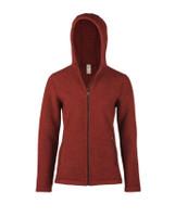 Organic Thick Wool Fleece Hooded Women's Jacket Color: 071E terracotta melange