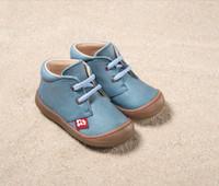 "Natural Leather Children's Shoes - ""JUAN"" Color: 750 Stone Blue"
