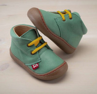 "Natural Leather Children's Shoes - ""JUAN"" Color: Green"