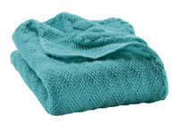 Organic Wool Knitted Blanket Color: Lagoon