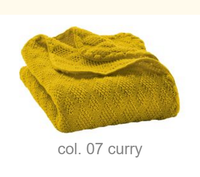 Organic Wool Knitted Blanket Color: Curry