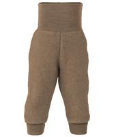Organic Wool Fleece Pants with High Waistband Color: 075 walnut melange
