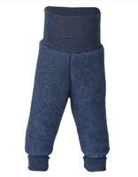 Organic Wool Fleece Pants with High Waistband Color: 080 Blue melange