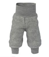 Organic Wool Fleece Pants with High Waistband Color: 091 light grey melange