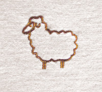 Embroidered sheep, Natural Colored Wool