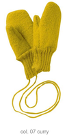 Boiled Wool Mittens Color: Curry