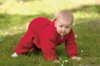 Organic Soft Wool Fleece Hooded Baby Bunting Color: Cherry Red