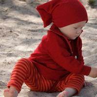 Organic Merino Wool/ Silk Baby Leggings Color: Cherry Red/ Orange