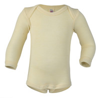 Merino Wool/ Silk Long Sleeved Bodysuit Color:  01 Natural