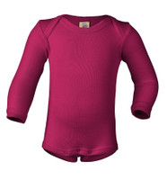 Merino Wool/ Silk Long Sleeved Bodysuit Color:  55E roseberry