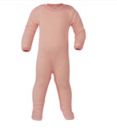 Organic Wool/ Silk Footed Pajamas Color: 5001E lachs/natur
