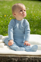 Organic Wool/ Silk Footed Pajamas Color: Blue