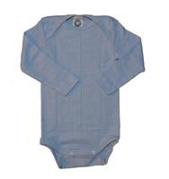 Organic Wool/ Silk/ Cotton Long Sleeved Bodysuit Color: Blue