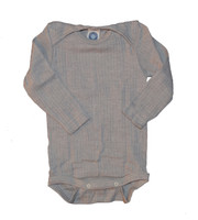 Organic Wool/ Silk/ Cotton Long Sleeved Bodysuit Color: 940 Grey Melange