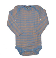 Organic Wool/ Silk/ Cotton Long Sleeved Bodysuit Color: Blue/ Apricot/ Natural Stripes