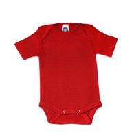 Cosilana Organic Wool/ Silk Short Sleeved Bodysuit Color: red