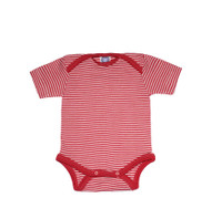 Cosilana Organic Wool/ Silk Short Sleeved Bodysuit Color: red striped