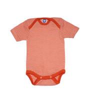 Cosilana Organic Wool/ Silk Short Sleeved Bodysuit Color: orange striped