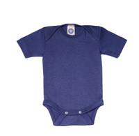 Cosilana Organic Wool/ Silk Short Sleeved Bodysuit Color: navy