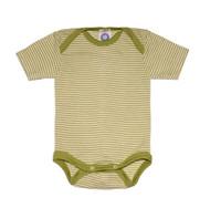 Cosilana Organic Wool/ Silk Short Sleeved Bodysuit Color: green striped