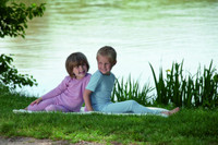 Organic Wool/ Silk Children's Leggings Lilac & Blue