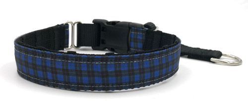 "1"" Blue and Black Plaid Private Prong Collar"