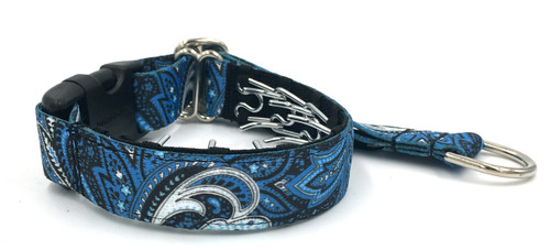 """Blue and Black Paisley 1"""" Private Prong Collar"""