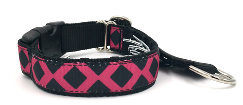 """Pink and Black Lattice 1"""" Private Prong Collar"""