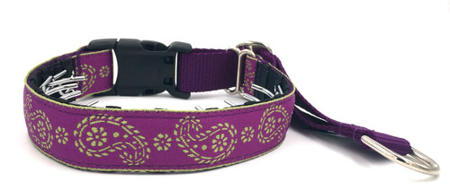 """Magenta and Lime Paisley 1"""" Private Prong Collar"""