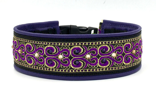 "1.5"" Purple and Gold Sussex Swarovski Crystal Private Prong Collar"