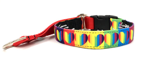 "1"" Rainbow Hearts Private Prong Collar"