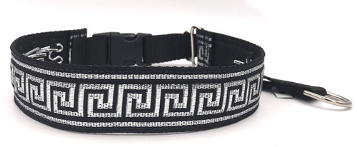 "1.5"" Black Greek Key Private Prong Collar"