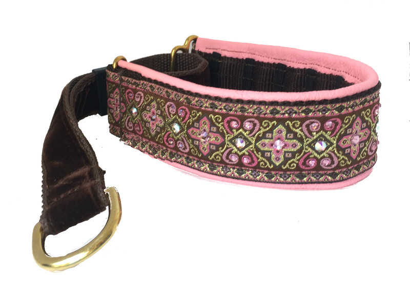 """1.5"""" Pink and Chocolate Croix Swarovski Private Prong Collar"""